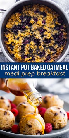 Instant Pot baked oatmeal is tender and lightly sweet, and cooks up without the need for your oven! Customize with different add ins, and bake up in a cake pan or silicone molds. #sweetpeasandsaffron #mealprep #breakfast instantpot #oatmeal