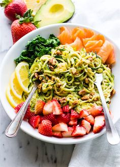 Smoked Salmon And Strawberry Zucchini Noodle Pasta Salad Grain Free Low Carb