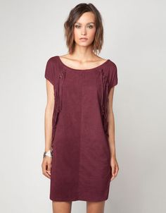 Bershka Ireland - Bershka imitation suede fringed dress