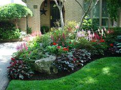 Front entrance | Curb appeal | Heuchera, geraniums, Astilbe, evergreen & deciduous shrubs