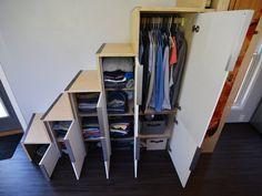 Tiny House Closet, Loft Closet, Tiny House Storage, Tiny House Trailer, Tiny House Cabin, Tiny House Living, Tiny House Plans, Tiny Houses, Tiny House Stairs