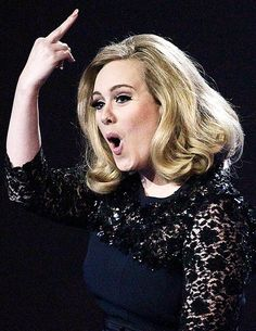 The singer famously gave the rude gesture after she was cut off midway through her acceptance speech for the Best Album gong at the awards last month. Well done Adele!