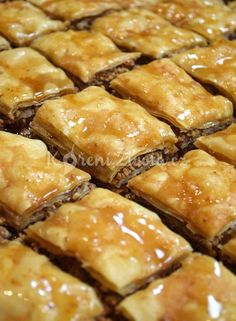 Close up of Baklava Czech Recipes, Greek Recipes, Desert Recipes, Ethnic Recipes, Pasta Recipes, Cake Recipes, Fudge, Sweet Tooth, Food And Drink