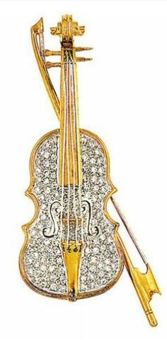 A diamond violin brooch, by Larry Of bi-coloured design, modelled as a violin and bow, pavé-set with brilliant-cut diamonds, 6.3cm long Signed Larry