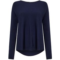 Phase Eight Terza Zip Back Swing Jumper, Navy ($49) ❤ liked on Polyvore featuring tops, sweaters, long sleeve tops, boatneck sweater, boat neck jumper, rayon sweater and blue top