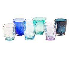 Set di 6 bicchieri in vetro Samoa - acqua/azzurro/blu/lilla/turchese