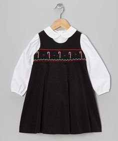 Take a look at this Black Candy Cane Smocked Top & Jumper - Toddler & Girls by Boutique Collection by Imagewear on #zulily today!