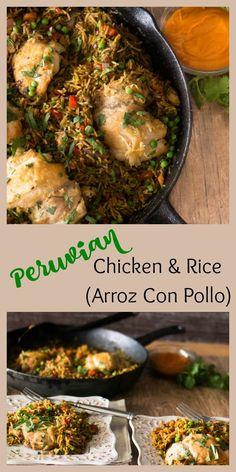 Peruvian Chicken and Rice (Arroz Con Pollo) - Peruvian flavors (aji amarillo and cilantro) in a healthy, flavor-packed one pot dish! (Mexican Chicken And Rice) Peruvian Dishes, Peruvian Cuisine, Peruvian Recipes, Peruvian Chicken And Rice Recipe, Peruvian Arroz Con Pollo Recipe, Couscous, Mexican Food Recipes, Ethnic Recipes, Comida Latina