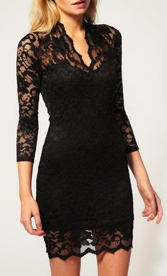 """little black lace dress.""    sheinside.com  can't wait to wear this to a december wedding :)"