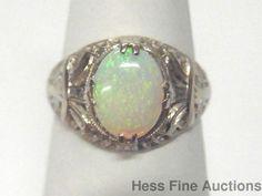 Natural Australian Opal 14k White Gold Filigree Vintage Ladies Ring Size 5.25 #FashionRightHandSolitaire