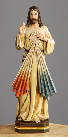 """Divine Mercy of Jesus Statue 12"""" Tall Val Gardena Collection"""