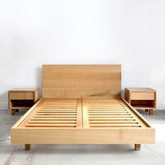 The Hanko Bed is an heirloom quality modern addition to any family. Precise lines, a sturdy build, and minimalist form combine into a delightful fusion of strength and grace. The bed floats off the gr Bedroom Furniture, Furniture Design, Furniture Layout, Diy Furniture, Diy Bett, Wood Headboard, Wood Slats, Bed Design, Bed Frame