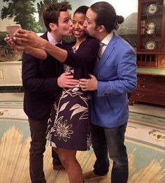 Renée takes a selfie with J Groff and Lin