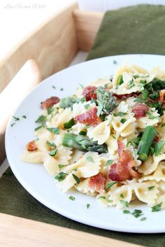 Creamy Pasta with Asparagus and Bacon I made this with orzo and it was delicious:) Don't forget the nutmeg!