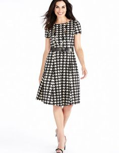 Cleo | Houndstooth Fit and Flare Dress with Belt #Houndstooth #CleoFashion