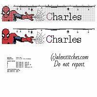 Nom Chaqrles avec Spider-Man et quelques araignées traversent modèle de point