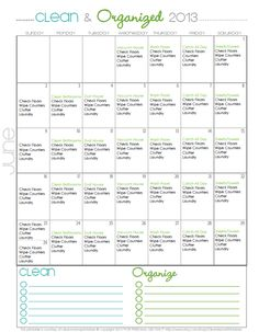 Want to simplify your summer?  Try a cleaning routine - FREE cleaning calendar for June - Clean Mama