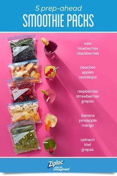 5 Prep-Ahead Freezer Smoothie Packs Get set up for super speedy morning meal prep. These 5 simple smoothie recipes can be prepped ahead for a quick breakfast or easy snack idea Healthy Meal Prep, Healthy Drinks, Healthy Snacks, Healthy Eating, Healthy Recipes, Clean Eating, Diet Drinks, Free Recipes, Brunch Drinks