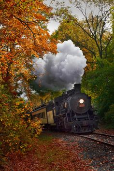 """""""Autumn Train"""" ~ Photo by Jonathan Steele on ~ Essex Steam Train rounding the bend in Essex, Connecticut during one of its Fall Foliage Tours. Train Tracks, Train Rides, Motor A Vapor, Foto Nature, Old Steam Train, Nature Landscape, Images Gif, Train Art, Old Trains"""