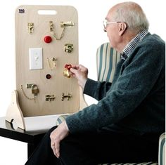 Locks and Latches Board – Help trigger memories about house-hold tasks, DIY and trade skills. A great activity for men with dementia that encourages conversation and discussion.