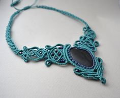 blue micro macrame necklace macrame stone necklace/ by AbyCraft