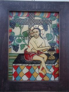 Icoane romanesti pictate pe sticla in tehnica traditionala Christian Paintings, True Vine, Byzantine Art, Religious Art, Ikon, Postcards, Vines, Folk, Glass