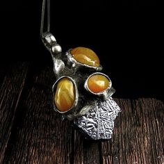 WIZARD'S HAT Necklace  Galena & Agate Pendant by AMW by AMWcrystal