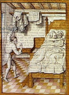 "A Man Watching Two Women in a Bed, from 'The Fables of Bidpai' (w/c on paper), c. 1480 [Very similar to ""The Book of Examples"", Fol 134r]"