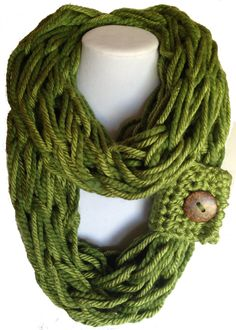 Chunky arm knitted cowl/ Infinity scarf/ circular scarf / Boho style/Fashion accessory/ green/black/cream/brown / brown coconut button circular scarf infinity scarf Spanish style Clothing chunky scarf arm knit scarf arm knit cowl coconut button cuff button wrap boho style scarf black St Patricks scarves 29.00 USD #goriani
