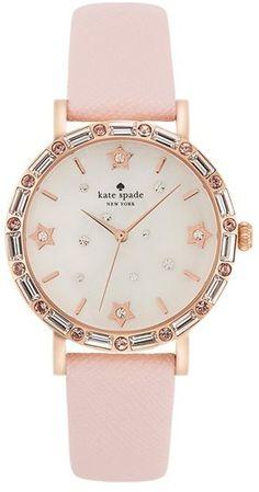 Kate Spade New York 'metro' Crystal Bezel Leather Strap Watch, 34mm