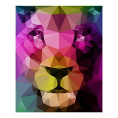 geometric lion wall art poster in neon colors, by Three Of The Possessed // wild animal extra large wall hanging ideas // colorful triangles #geometricdesign #walldecoration #lionart #wildanimals at http://www.zazzle.com/wild_neon_poster-228553975606203101?rf=238395237176455059