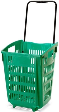XL Shopping Basket On Wheels - Green