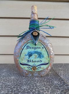 DRAGON'S BLOOD POTION Bottle Halloween Decor Vintage Glass Apothecary 9.5 in. Renaissance Medieval Witch Spells Collectible Castle Dungeon by WhimsicalWondersdb on Etsy