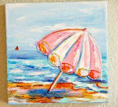 Funky Beach Umbrella by the Sea Original Mixed Media Art 8 x 8 Canvas - pinned by pin4etsy.com
