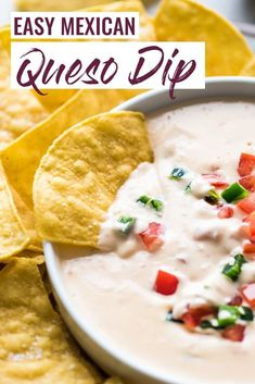 Easy Mexican Queso Dip - Isabel Eats {Easy Mexican Recipes} This homemade Mexican Queso Dip is easy to make and comes out creamy and smooth every time! Now you can make your favorite restaurant queso at home! Mexican Dips, Mexican Appetizers, Meat Appetizers, Appetizer Recipes, Mexican Food Recipes, Easy Mexican Dishes, Delicious Appetizers, Mexican Desserts, Holiday Appetizers