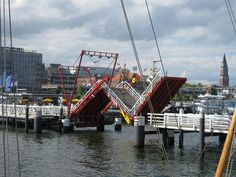 """The unique bridge folds up into the shape of a capital """"N"""" to let boat traffic through."""