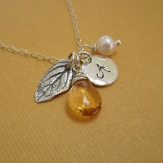 Personalized birthstone necklace, November birthstone necklace, citrine necklace, leaf charm, custom initial, freshwater pearl, Autumn gift on Etsy, $38.00