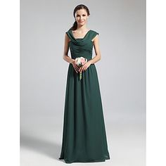 Lanting+Bride®+Floor-length+Chiffon+Bridesmaid+Dress+-+A-line+Cowl+Plus+Size+/+Petite+with+Draping+/+Ruching+/+Pleats+–+USD+$+79.99