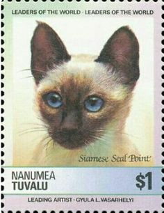 Siamese Cats, Cats And Kittens, Vanuatu, Cute Cats Photos, Postage Stamp Art, Cat Cards, Pretty Cats, Baby Cats, Stamp Collecting