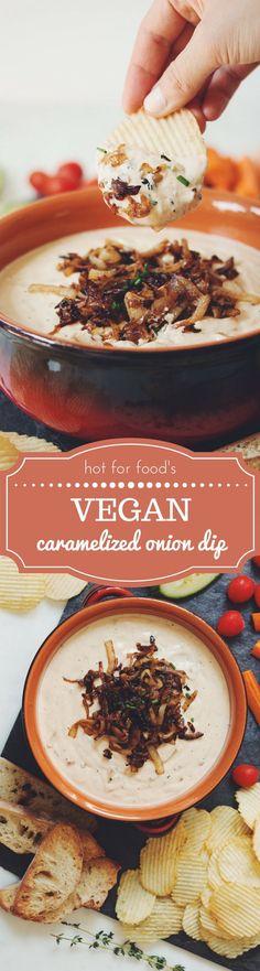vegan caramelized onion dip | RECIPE on http://hotforfoodblog.com