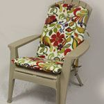 Wow, really cute outdoor cushions for those stackable adirondack chairs you get from Lowes and Home Depot. Adirondack Chair Cushions, Patio Furniture Cushions, Patio Cushions, White Leather Dining Chairs, Metal Dining Chairs, Deck Chairs, Outdoor Plastic Chairs, Plastic Adirondack Chairs, Outdoor Chairs