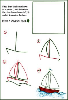 How to Draw a Sailboat Kids Drawing Lesson.