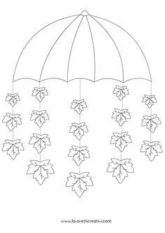 Pendente con ombrello e foglie da realizzare con i cartoncini colorati da attaccare sulle finestre o sulle pareti della classe nel periodo autunnale. Non d