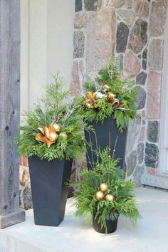 Fancy Outdoor Holiday Planter Ideas To Enliven Your Christmas DayYou can find Outdoors and more on our website.Fancy Outdoor Holiday Planter Ideas To Enliven Your Ch. Outdoor Christmas Planters, Christmas Urns, Christmas Garden Decorations, Christmas Front Doors, Christmas Arrangements, Christmas Holidays, Christmas Wreaths, Outdoor Planters, Winter Decorations