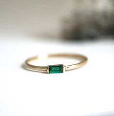 emerald ring baguette wedding band engagement 14k rose white