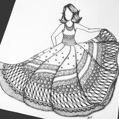 40 Absolutely Beautiful Zentangle patterns For Many Uses - Bored Art Dress Design Drawing, Girl Drawing Sketches, Doodle Art Drawing, Girly Drawings, Art Drawings Sketches Simple, Zentangle Drawings, Pencil Drawings, Dress Drawing, Fashion Design Sketchbook
