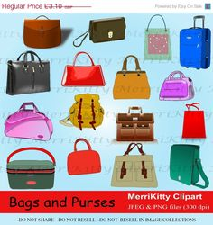 80% OFF SALE MK49 - Bags and Purses Clipart Pack - Digital Scrapbook - Graphics - Clip art - Collage Sheets - Digistamps - Handbag - Tote Ba (0.62 GBP) by MerriKittyDigitals