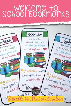 Editable welcome back to school bookmarks that are perfect to gift to students on the first day of school or at your meet the teacher night! Back To School Kids, Welcome Back To School, First Day Of School, Teaching Phonics, Teaching Kindergarten, Teaching Ideas, Teaching Second Grade, Third Grade, School Gifts