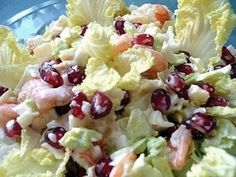 "Salad ""arrows of Cupid""  Ingredients:  – 1/2 head Chinese cabbage – 300 g peeled shrimp cocktail (Royal will not work!) – 12-15 crab sticks – 1 jar of canned pineapples – large ripe pomegranate – mayonnaise – salt"