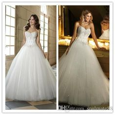 Customized Made Ball Gowns Sparkling Strapless Beaded Embrioderies Bodice Natural Waist Lace Up Floor Length Wedding Bridal Dresses Simple Bridal Dresses Wedding Bridal Dresses From Soulmate88, $136.09| Dhgate.Com
